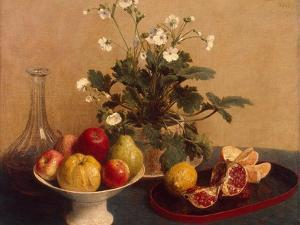 Flowers, Dish with Fruit and Carafe, 1865 by Henri Fantin-Latour