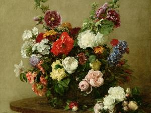 French Roses and Peonies, 1881 by Henri Fantin-Latour