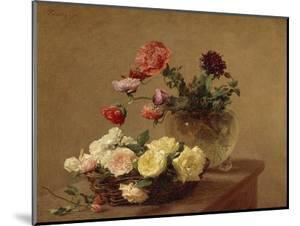 Poppies in a Crystal Vase and Roses in a Basket by Henri Fantin-Latour
