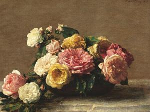 Roses in a Bowl by Henri Fantin-Latour