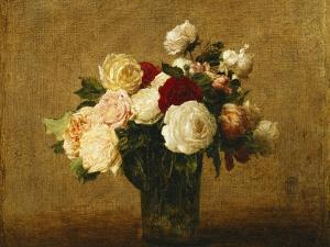 Roses in a Glass Vase; Roses Dans Un Vase De Verre by Henri Fantin-Latour