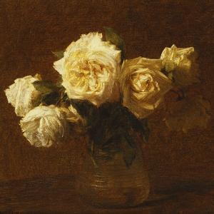 Six Yellow Roses in a Vase; Six Roses Jaunes Dans Une Vase, 1903 by Henri Fantin-Latour