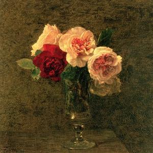 Still Life of Pink and Red Roses, 19th Century by Henri Fantin-Latour