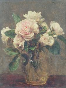 White Roses in a Glass Vase, 1875 by Henri Fantin-Latour