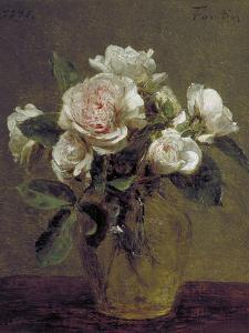 White Roses in a Glass Vase, 1875 by Henri Fantin-Latour