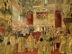 Coronation of Czar Nicolas II and Empress Alexandra Feodorowna, Church of the Assumption, Moscow. by Henri Gervex