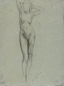 Figure of a Naked Woman Standing, Hands Behind Head by Henri Gervex