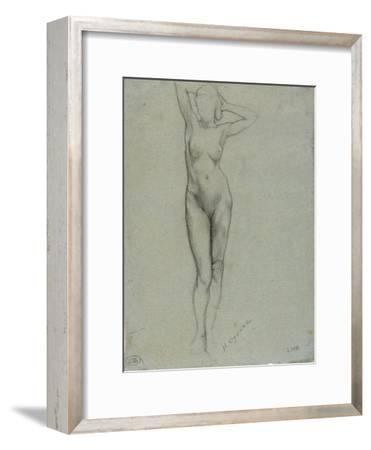 Figure of a Naked Woman Standing, Hands Behind Head
