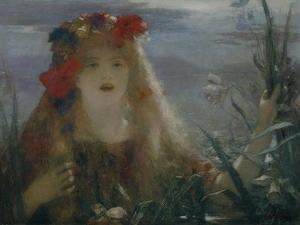 """Ophelia-portrait of Nellie Melba who sang the role of Ophelia in Ambroise Thomas opera """" Hamlet"""". by Henri Gervex"""
