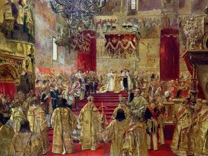 Study for the Coronation of Tsar Nicholas II (1868-1918) and Tsarina Alexandra (1872-1918) by Henri Gervex