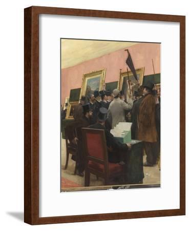 Une séance du jury de peinture au Salon des Artistes français (1883 ?)