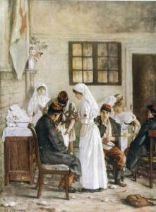World War One: French Soldiers Receive First Aid at Poitiers Station France by Henri Gervex