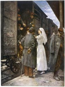 Wounded French Soldiers on an Ambulance Train are Tended by a Nurse During a Stop at a Station by Henri Gervex