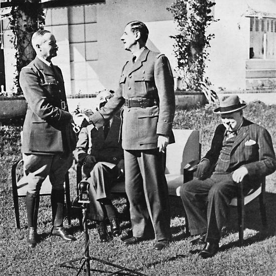 ''Henri Giraud and de Gaulle during the Casablanca Conference, January, 1943, (1945)-Unknown-Photographic Print