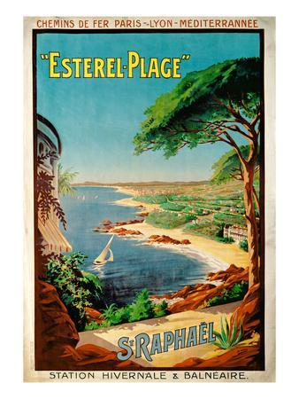 Poster Advertising Esterel-Plage, St.Raphael, C.1920 (Colour Litho)