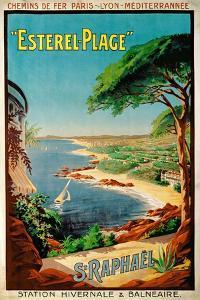 Poster Advertising Esterel-Plage, St.Raphael, C.1920 (Colour Litho) by Henri Gray