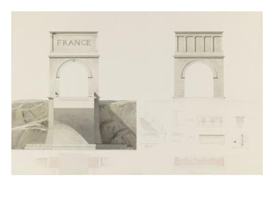 Projet d'un monument que l'on suppose placé aux frontières de la France et de l'Italie : vue de