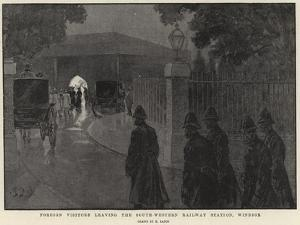 Foreign Visitors Leaving the South-Western Railway Station, Windsor by Henri Lanos