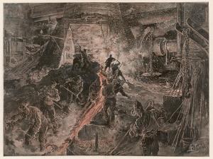 Ironworks at Birmingham, Tapping a Furnace and Running the Molten Metal into Pigs by Henri Lanos