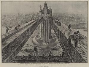 The Completion of the Tower Bridge, Putting the Finishing Touches by Henri Lanos