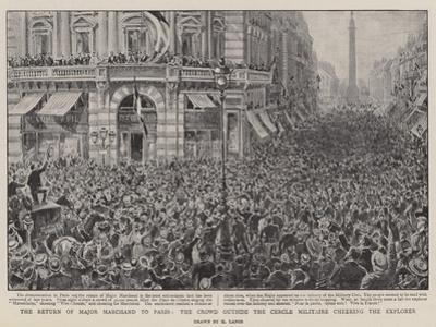 The Return of Major Marchand to Paris, the Crowd Outside the Cercle Militaire Cheering the Explorer by Henri Lanos
