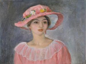 Lady with a Pink Hat by Henri Lebasque