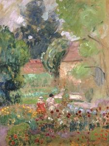 Marthe, Nono and Pierre in the Garden by Henri Lebasque