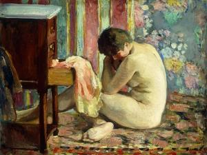 Nude with Pink Shirt; Nu a La Chemise Rose, 1926 by Henri Lebasque