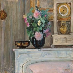 Vase of Flowers and a Clock on a Mantlepiece, C. 1920 by Henri Lebasque