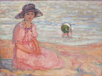 Woman in the Pink Dress by the Sea; Femme a La Robe Rose Au Bord De La Mer, C.1920