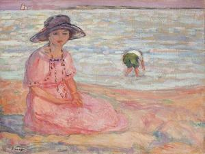 Woman in the Pink Dress by the Sea by Henri		 Lebasque