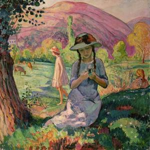 Young Girl Picking Flowers, 1910 by Henri Lebasque