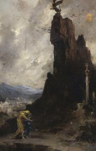 Oedipe s'exilant de Thèbes dit autrefois Oedipe et Antigone by Henri Levy