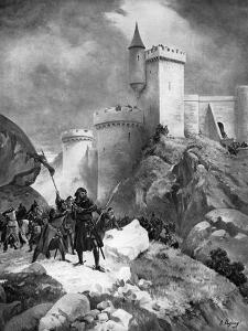 King Richard I (1157-119) Receiving His Death Wound before the Castle of Chaluz, 19th Century by Henri-Louis Dupray