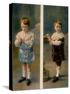 Boy Modeling in Pale Blue Satin and Brown Velvet with Lace accents from La Grande Maison by Henri Manuel
