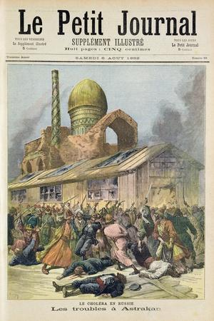 Title Page Depicting the Troubles in Astrakhan During the Time of Cholera in Russia from the Illust