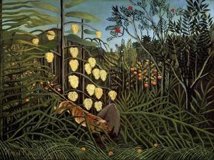 In a Tropical Forest. Struggle Between Tiger and Bull, 1908-1909 by Henri Rousseau