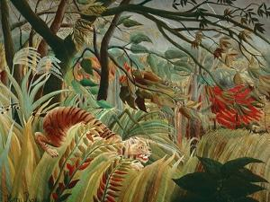 Orage tropique avec un tigre-Tiger in a tropical storm,1891. Canvas,129,8 x 161,9 cm NG 6421. by HENRI ROUSSEAU