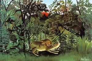 The Hungry Lion by Henri Rousseau