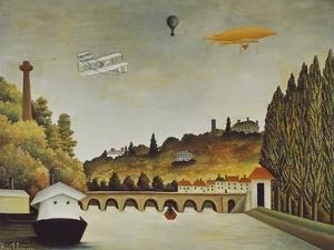 View of the Bridge at Sevres and the Hills at Clamart, St, Cloud, 1908 by Henri Rousseau