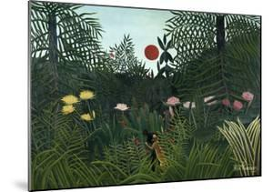 Virgin Forest with Setting Sun, C. 1910 by Henri Rousseau