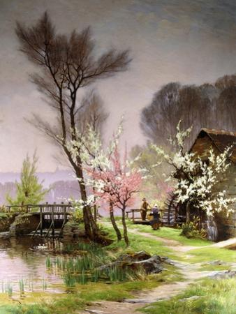 At the Watermill, Spring by Henri Saintain