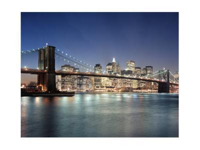Brooklyn Bridge at Night 3 - New York City Skyline at Night, Color by Henri Silberman