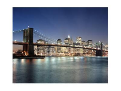 Brooklyn Bridge at Night 3 - New York City Skyline at Night, Color