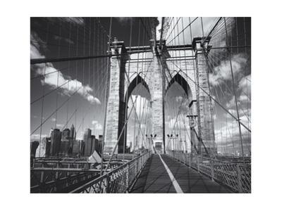 Brooklyn Bridge Walkway Clouds by Henri Silberman