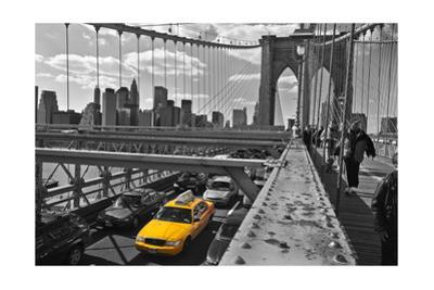 Brooklyn Bridge with Yellow Cab 2 - New York City Icon by Henri Silberman