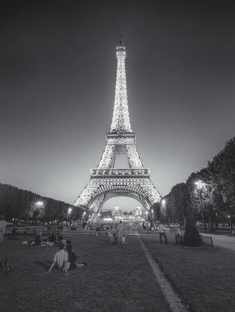 Eiffel Tower Evening Champs Du Mars Couple by Henri Silberman