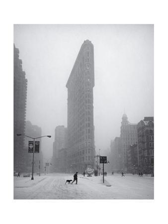 Flatiron Building Blizzard Dog Walker by Henri Silberman