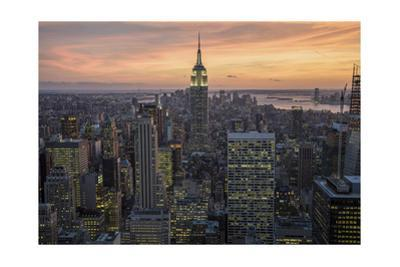 Manhattan Sunset, Empire State Building, Looking South - New York City Iconic Building by Henri Silberman
