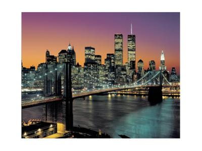 Top View, Brooklyn Bridge in Color - New York City Skyline at Night